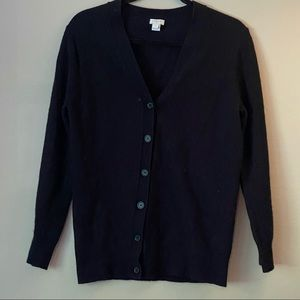 J. Crew black wool/cotton-blend cardigan